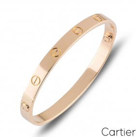 Cartier Rose Gold Plain Love Bracelet Size 21 B6035621